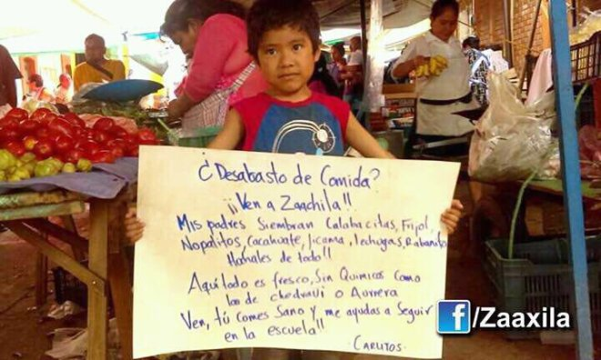 """Food shortage? Come to Zaachila! My parents grow squash, beans, nopales, peanuts, jicama, lettuce, radishes. Here everything is fresh, without chemicals, not like in Chedraui or Aurrera. Come, you eat healthy and help me stay in school! - Carlitos"""