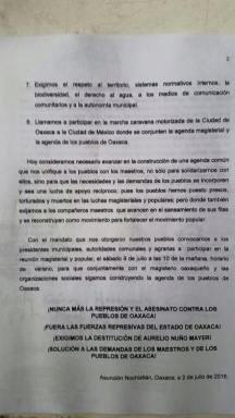 Statement from the second gathering of municipal and agrarian authorities of Oaxaca.