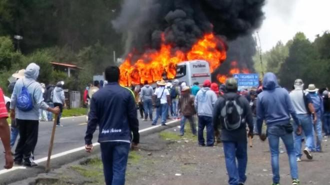 Attack on teachers' blockade in San Juan Tumbio, Michoacán on July 19.