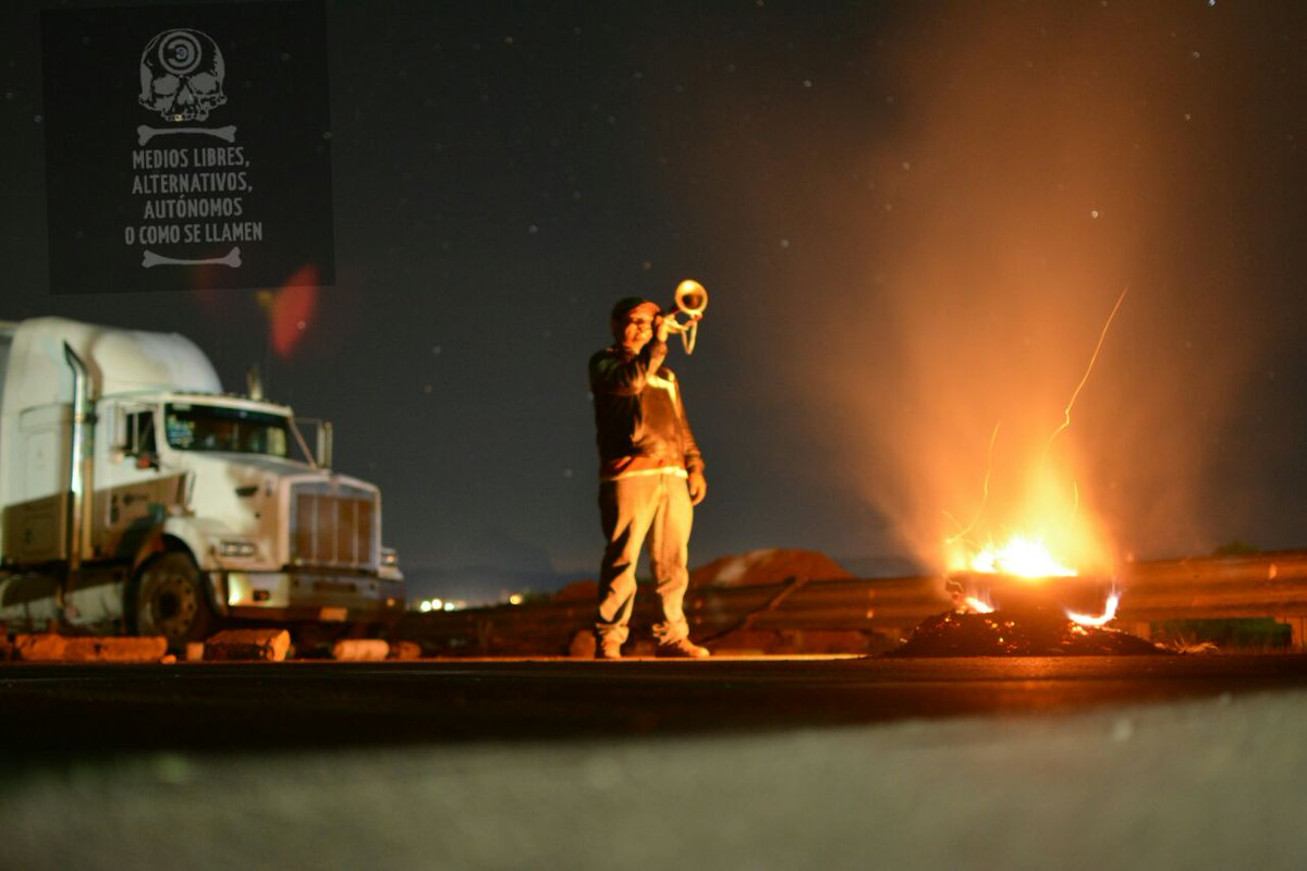 Music on the highway blockade in Nochixtlán, Oaxaca.