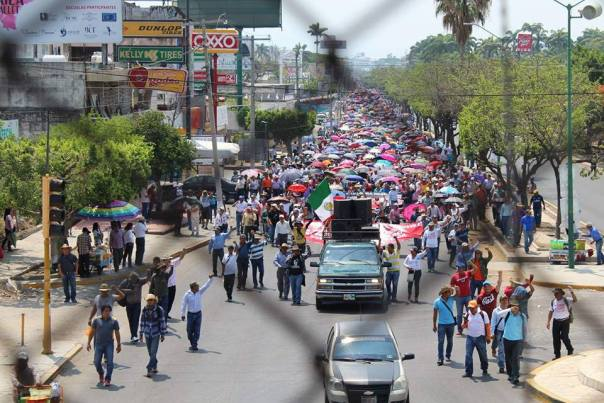 Teachers march in Tuxtla Gutiérrez, Chiapas.